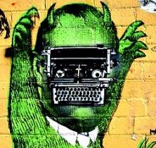 green-brain-typewriter-and-monster