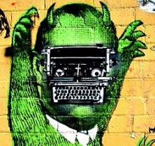 green-brain-typewriter-and-monster