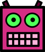 Pink_or_Plum_Robot_Face_With_Green_Eyes